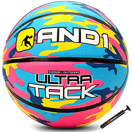 """AND1 Ultra Grip Advanced Premium Rubber Basketball Deflated w/Pump Included: Official Regulation Size 7 295"""" Streetball Made for Indoor/Outdoor Basketball Games Pink/Yellow"""