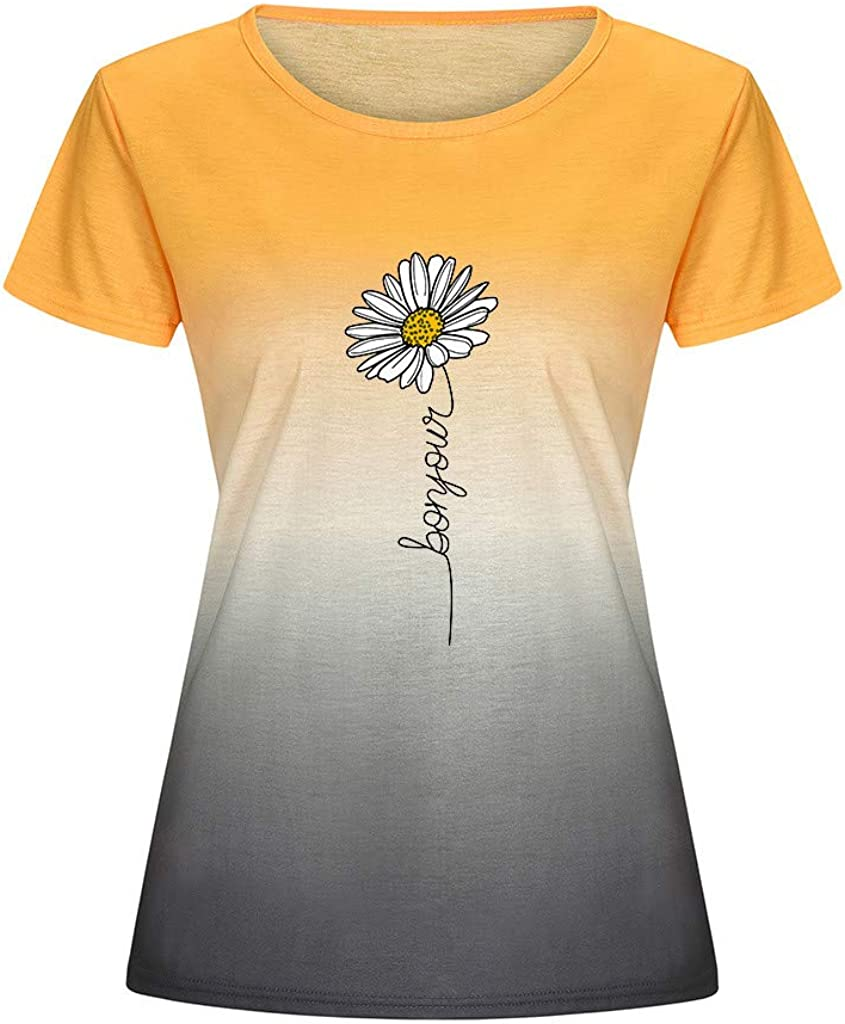 Aukbays Womens Tops Short Sleeve Sunflower Pinting Plus Size T-Shirts Graphic Summer O Neck Tees Blouses Shirts Tunic