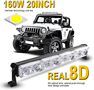 LED Light Bar 20inch 160W,LEADTOPS Single Row Driving Light CREE LEDs 8D Lamp Cup off Road Lights for Jeep, Cabin, Boat, SUV, Truck, Atv, Driving Lights,2 Years Warranty