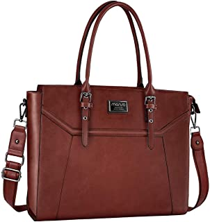 MOSISO 15.6-17 inch Women Laptop Tote Bag with Shockproof Compartment, Brown