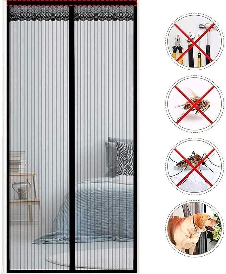 要求着飾るセント網戸 玄関 磁気フライ昆虫自動的に画面のドア、スーパーファインメッシュフライカーテン、磁気トップツーボトムシールスナップシャットダウン後、うちに&バグ新鮮な空気を保ちます (Color : Black, Size : 95x195cm/37x77inch)