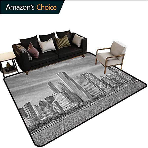 Chicago Skyline Humorous Area Rug Kitchen Black And White Filtered Photo Of Waterfront Cityscape On A Cloudy Day Print Durable Carpet Area Rug Living Dinning Room Bedroom Rugs And Carpets Grey