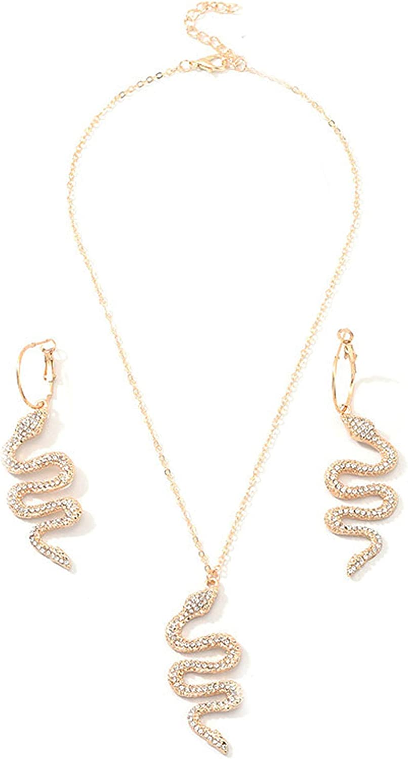 Gothic Punk Rhinestone Snake Dangle Earrings Necklace Set Exaggerated Wave Animal Cobra Pendant Necklace Dainty Serpent Earrings Necklace Jewelry for Women Girls Gifts