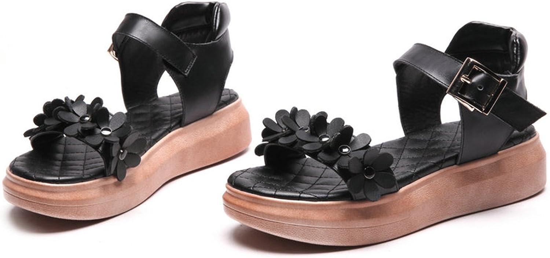 New Women Sandals shoes Flat Med Heels Buckle Strap Sandals Flower Summer Sandals Women shoes Size 34-43