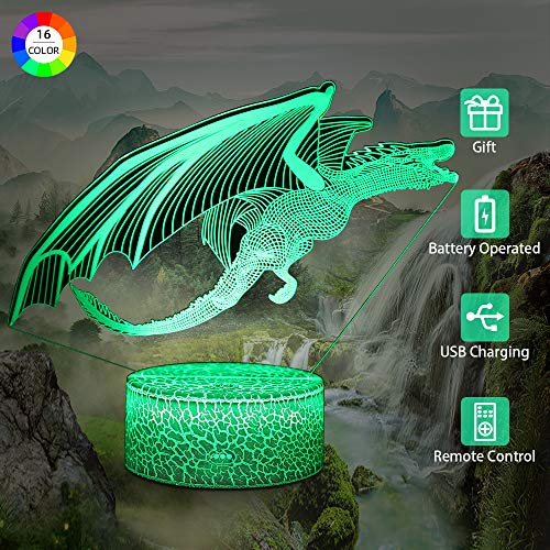 Flow.month Dinosaur Toy Night Lamp for Boys, 3D Illusion Pterosaur Night Light Touch Remote Control LED Nightlight, Kids Birthday Children Bedroom Decor Lighting