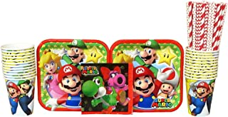 Super Mario Brothers Party Supplies Pack for 16 Guests Includes: Straws, Dessert Plates, Beverage Napkins, and Cups (Bundle for 16)