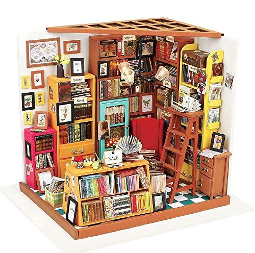 LAYBAY Spielzeug aus Holz Puppenhaus-Set mit LED-Leuchten und Zubehör- DIY Mini House Set Crafts-3D-Holz-Puzzle Modell Bauen Set, kreative Puppenhaus Spielzeug geeignet for Junge Erwachsene Geschenke