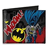 Buckle-Down mens Buckle-down Canvas Bifold - Batman Action Poses Whoom! Gray/Black/Red Wallet, Multicolor, 4.0 x 3.5 US