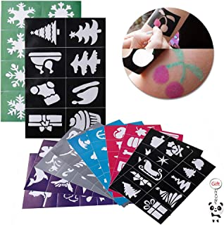 120 Pcs Face & Body Paint Stencils, Reusable, Soft and Easy to Stick Down Tattoo Stencils, Tattoos for Kids School Carnival Birthdays Halloween Christmas