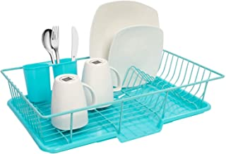 """Sweet Home Collection Dish Rack Drainer 3 Piece Set with Drying Board and Utensil Holder, 12"""" x 19"""" x 5"""", Turquoise"""