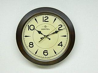 さんてる(Suntel) 掛け時計 ブラウン 直径285×65mm レトロ サークル掛け時計 アンティーク・ブラウン DQL678-AN