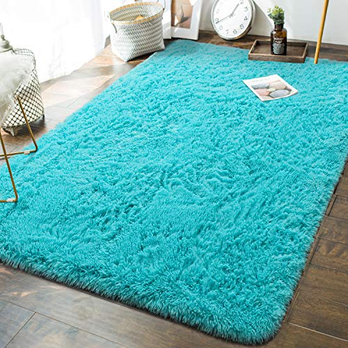 Andecor Soft Fluffy Bedroom Rugs - 6 x 9 Feet Indoor Shaggy Plush Area Rug for Boys Girls Kids Baby College Dorm Living Room Home Decor Floor Carpet, Teal Blue