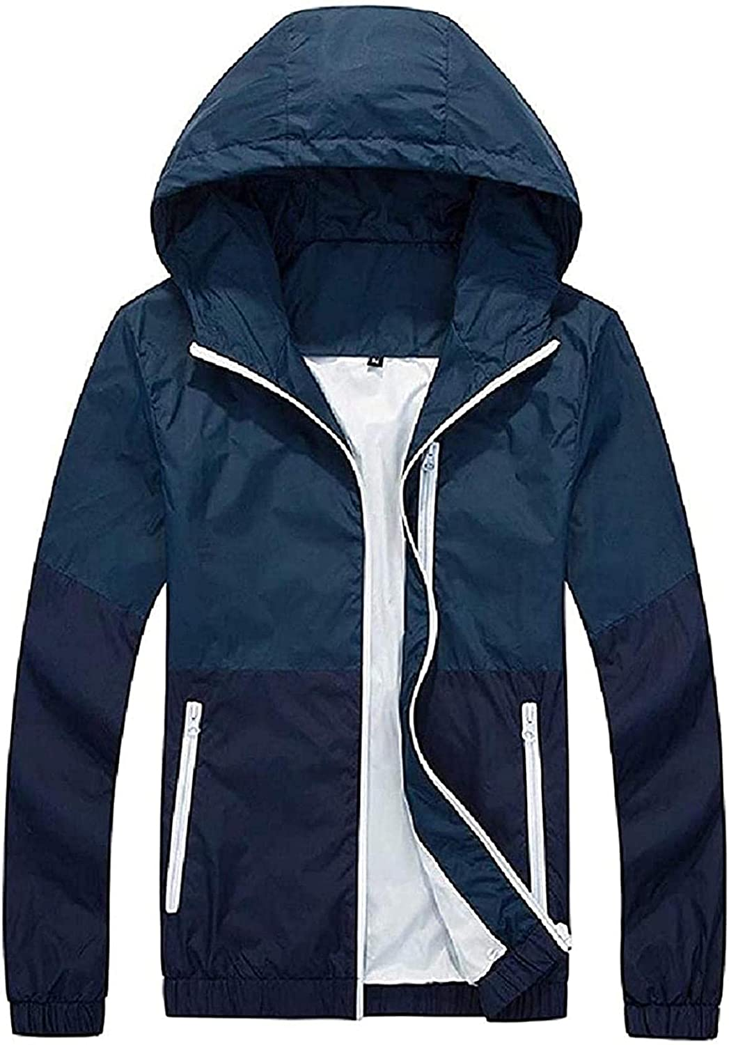 Men Hoodie Thin Trench Overcoat Relaxed-Fit Plus Size Rain Jacket