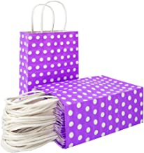 25 PCS Purple Paper Gift Bags with Handles Polka Dot Paper Party Favor Bags for Kid's Birthday Wedding Holiday Party Supplies by ADIDO EVA(8.2 x 6 x 3.1 in Purple)