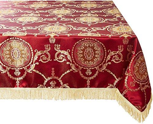 Violet Linen Prestige Damask Design Tablecloth, 60' x 120', Burgundy