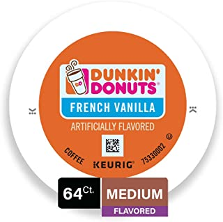 Dunkin' Donuts Medium Flavored French Vanilla Coffee, 64 K Cups for Keurig Makers