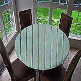 3D Mantel Antimanchas Redondo, Chickwin Mantel de Mesa Impermeable Diseño de Borde Elástico, Mantel Redondo para Comedor, Cocina y Picnic, Fiestas, Cena de Vacaciones (Azul,90cm)