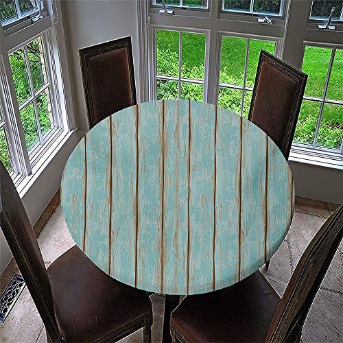 3D Mantel Antimanchas Redondo, Chickwin Mantel de Mesa Impermeable Diseño de Borde Elástico, Mantel Redondo para Comedor, Cocina y Picnic, Fiestas, Cena de Vacaciones (Azul,180cm)
