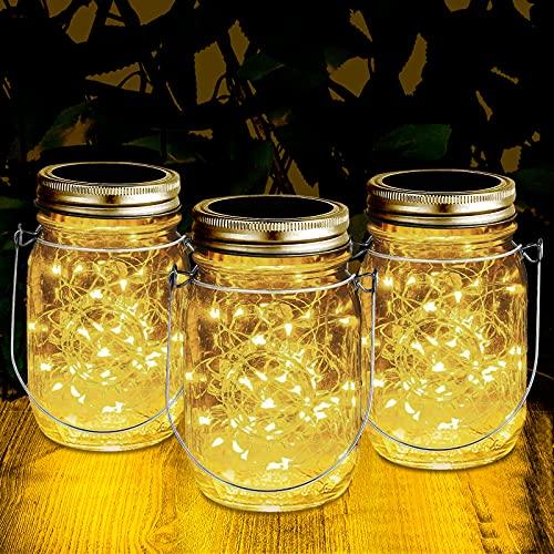Ulknyss Lampada Solare da Esterno 3 Pezzi Lanterne da Giardino con 30 Led Luci Impermeabile Lampade Solari Barattolo di Vetro per Interno Esterni Giardino Natale Decorazioni