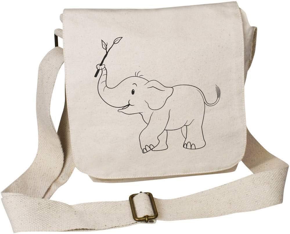 Azeeda Baby Elephant Cotton Canvas Messenger Bag MS00004971
