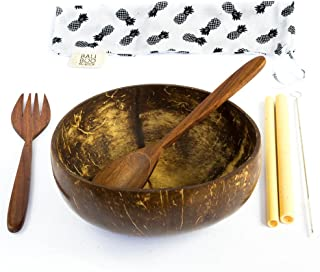 Coconut Bowl by Bali Boo - BONUS 1 Cutlery Set & 2 Bamboo Straws - Breakfast Smoothie Serving Bowl - Eco Friendly Zero Waste Handmade - Toddler and Vegan Gifts from Bali