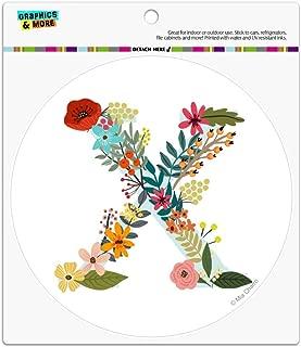 Graphics and More Letter X Floral Monogram Initial Automotive Car Refrigerator Locker Vinyl Circle Magnet