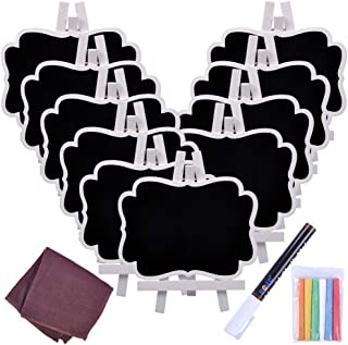 UCEC Chalkboard Sign Mini Small Chalkboard Easel, 10 PCS Wood Framed Rectangle Message Board Signs Place Cards for Weddings, Parties, Table Numbers, Food Signs, Special Event Decoration with Easel
