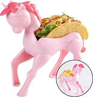Hikfly Taco Holder Kids, Unicorn Taco Stand, Holds 2 Taco, Fun Dining Best Party Decor Gift for Children Girls Baby-Pink