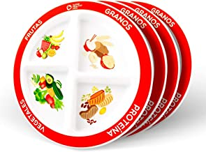 SPANISH MyPlate Divided Kids Portion Plate 4 Pack; 4 Fun & Balanced Sections for Picky Eaters