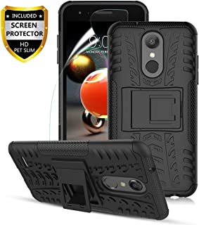 LG Aristo 2 Case, Aristo 2 Plus/Aristo 3/3 Plus/K8 2018/K8+/Tribute Empire/Tribute Dynasty/Zone 4/Fortune 2/Risio 3/Rebel 4/Phoenix 4,Dual Layer Shockproof,w HD Screen Protector,Tire Appearance-Black
