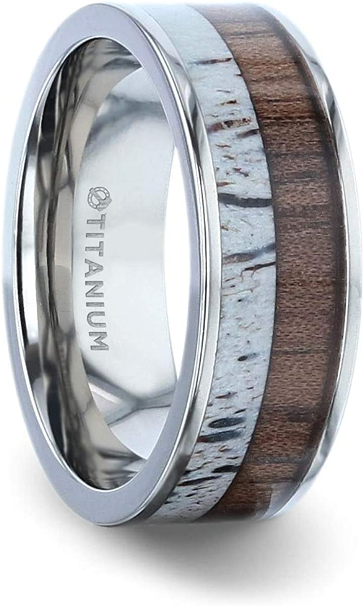 Thorsten Darby Titanium Polished Finish Flat Men's Wedding Ring with Deer Antler and Black Walnut Wood Inlay - 8mm