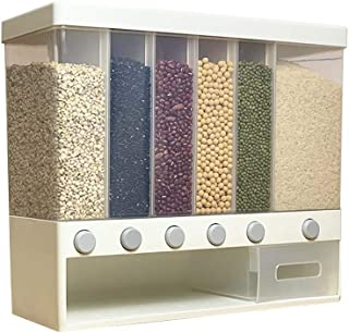 Rice Storage Container Box and Dispenser, Adjustable Compartments, Easy Press Wall Mounted Dry Food Dispenser Grains Conta...