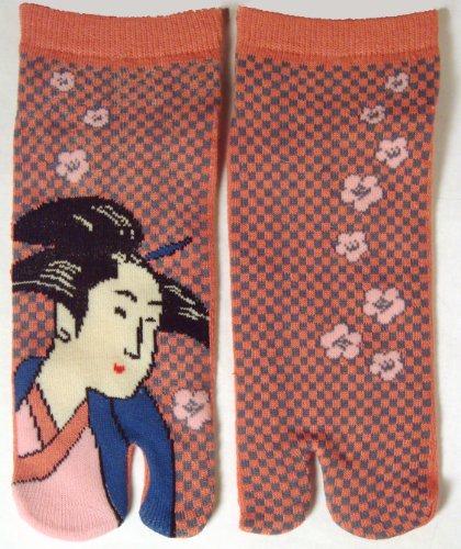 Tabi Socks Geta Toe Socks Geisha Design Womens 22 - 24cm