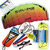 Prism Synapse Foil Power Kite with Stunt Display Tail Bundle (3 Items) + Prism 75ft Tube Tail + WindBone Kiteboarding Lifestyle Stickers (170 Mango)