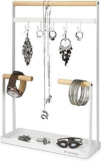 Navaris Présentoir à Bijoux - Porte-Bijou Design en Bambou 41 x 26 x 10 cm - Organisateur et Support pour Long Collier Bra...