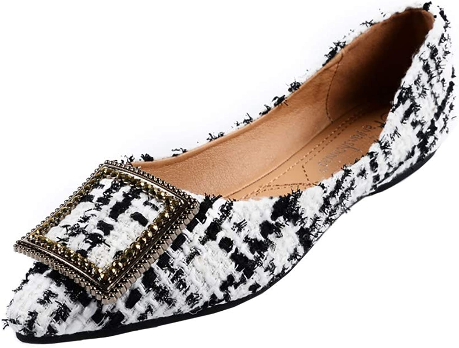 Wollanlily Womens Pointy Toe Flats Comfort Slip On Buckle Plaid Dress Ballet Flat shoes
