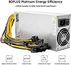 Power Supply, KKmoon 2400W Switching Server Power Supply 90% High Efficiency Professional Mining Machine Power Source for Ethereum S9 S7 L3 Rig Mining 180-260V