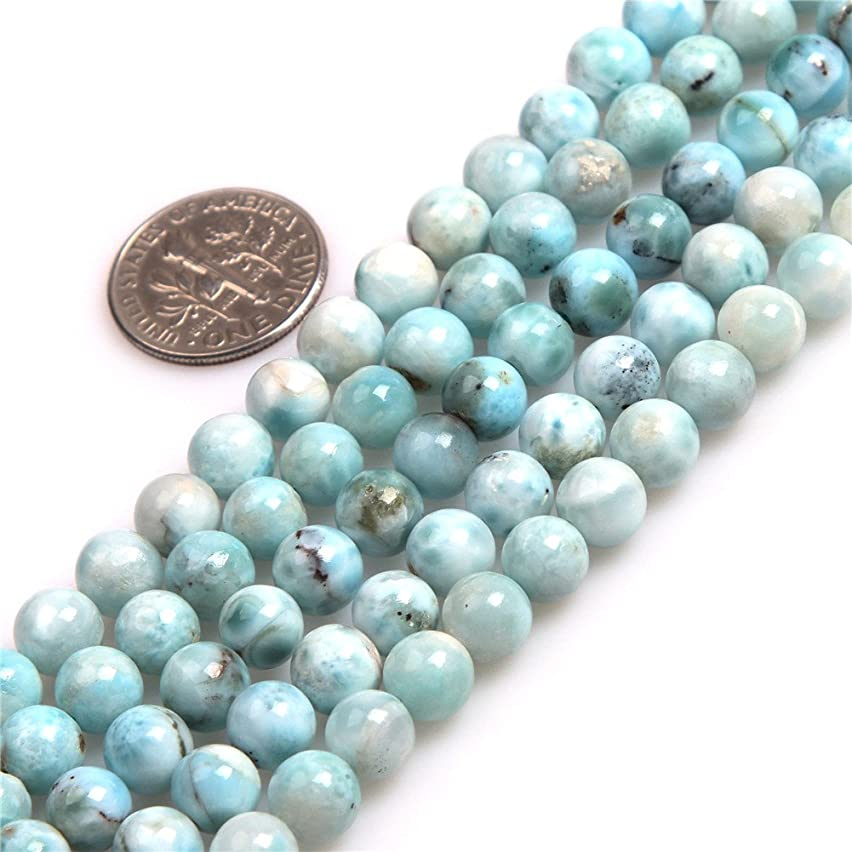 Blue Larimar Beads for Jewelry Making Natural Gemstone Semi Precious AAA Grade 7mm Round 15
