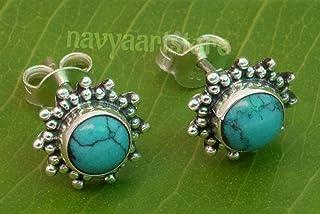 925 Sterling Silver Turquoise Stud Post Earrings - Turquoise Stone Gemstone Stud Earring Gift Jewellery For Girl women