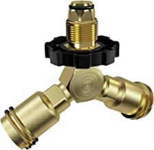 GASPRO Propane Tank Splitter, Propane Y Splitter, LP Gas Splitter Tee Valve, QCC1/Type1 Cylinder Bottle Brass T Adapter Connector for Propane Appliance BBQ Grill Camping Stove Heater