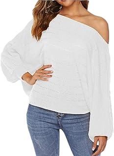 Women Off Shoulder Lantern Sleeve Sweater Pullover Knit Jumper Tunics Top