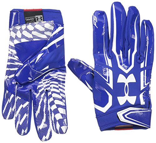 Under Armour Men's F5 Football Receiver Gloves, Royal/White, Small