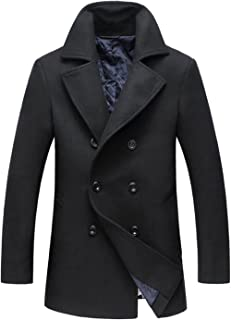 chouyatou Men's Classic Notched Collar Double Breasted Wool Blend Pea Coat