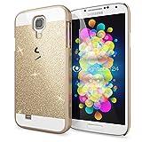 NALIA Funda Carcasa Compatible con Samsung Galaxy S4, Protectora Movil Purpurina Cubierta Dura Delgado Glitter Hard-Case, Telefono Bumper Smart-Phone Cover Lentejuela Ultra-Fina - Gold Oro