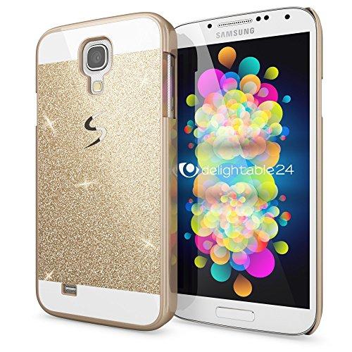 NALIA Custodia Protezione compatibile con Samsung Galaxy S4, Glitter Hard-Case Sottile Phone Cover Protettiva Cellulare, Ultra-Slim Copertura Rigida Telefono Bumper Scintillio - Gold Oro