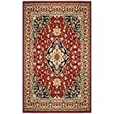 SUPERIOR Glendale Collection Area Rug - Traditional Brown Oriental Rug, 8 mm Pile, Jute Backing Floor Rug, Red, 4' x 6'