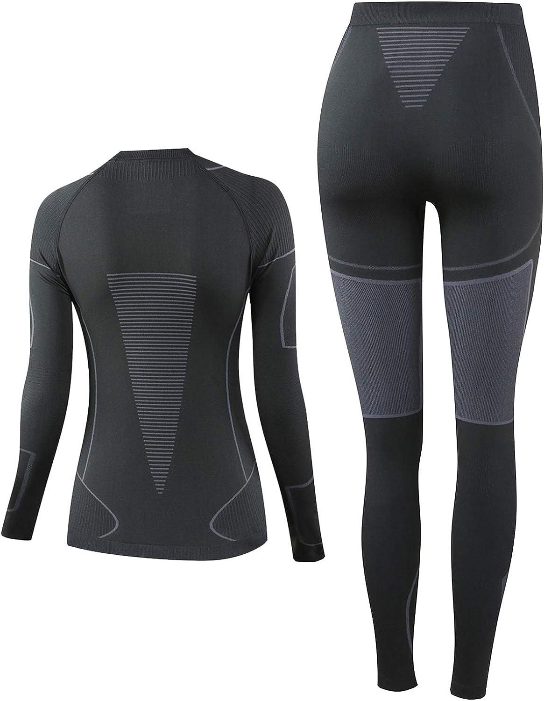 NOOYME Thermal Base Layer Women Ski Base Layers Women Ladies Thermal Clothing /& Leggings Quick Dry Thermal Underlayer Women Ladies Thermal Underwear Set