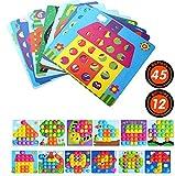 Gaoyong Mosaik Steckspiel für Kinder Lernspielzeug, Geschenk 2 Jahre mädchen Junge, Puzzle mit 45...
