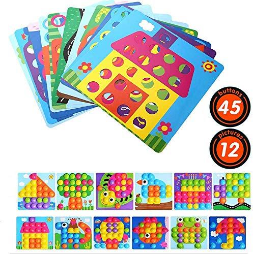 Gaoyong Mosaik Steckspiel für Kinder Lernspielzeug, Geschenk 2 Jahre mädchen Junge, Puzzle mit 45 Steckperlen und 12 Bunten Steckplätte