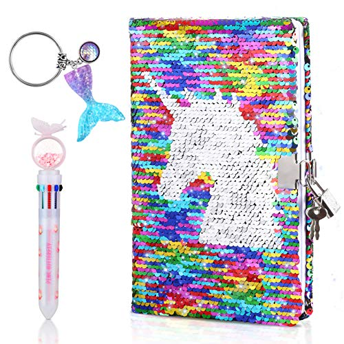Onlyesh Diary with Lock, Sequins Notebook, Reversible Sequin Journal, Double Sided Flip Sequin Journal with Lock, Ideal Personal Organizer Gift for Girls Women, Unicorn